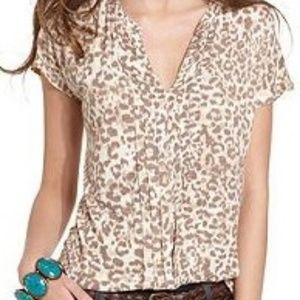 Lucky Brand Animal Print Front Pleated Top 3X